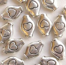 "Silver Plated ""Pewter"" Beads 11 x 7mm Heart Tube - 20"